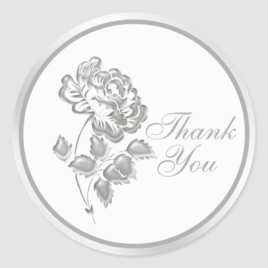 25 Years Silver Peony Thank You Sticker