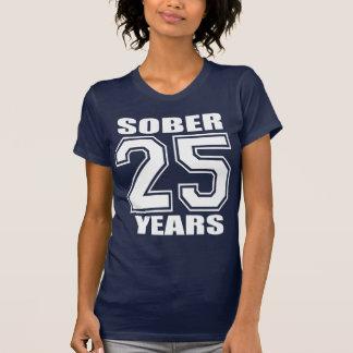 25 YEARS  Sober White on Dark T Shirt
