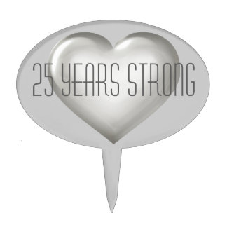 25 Years Strong Silver Glass Heart Cake Topper