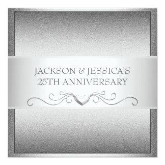 25ta fiesta de aniversario de los corazones de invitación 13,3 cm x 13,3cm