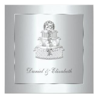 """25ta fiesta de aniversario del boda de la torta de invitación 5.25"""" x 5.25"""""""