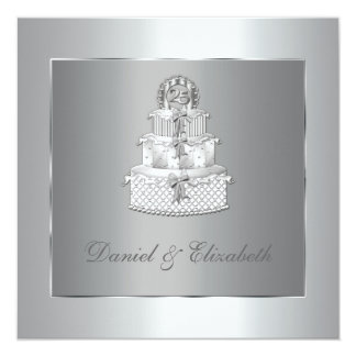 """25ta fiesta de aniversario del boda de la torta invitación 5.25"""" x 5.25"""""""