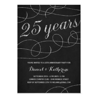 """25ta fiesta de aniversario elegante del Flourish Invitación 5"""" X 7"""""""