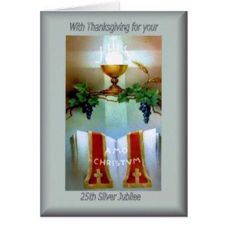 25ta ordenación del aniversario del católico tarjeta de felicitación