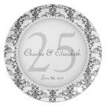 25ta placa conmemorativa elegante del aniversario  platos