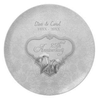 25ta placa del aniversario de boda de la cala de platos de comidas