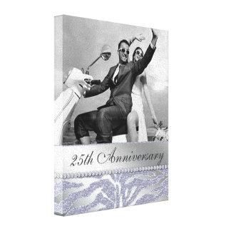 25ta plata de la lona de la foto del aniversario d impresión en lienzo