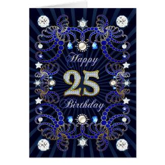 25ta tarjeta de cumpleaños con las masas de joyas