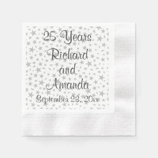 25tas estrellas personalizadas de la plata del servilleta de papel