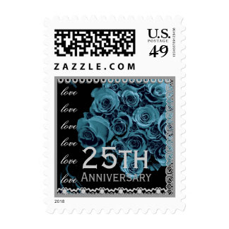 25th Anniversary AQUA BLUE Roses SILVER Lace Postage Stamps