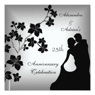 25th Anniversary Asian Black Silver Floral Couple Card