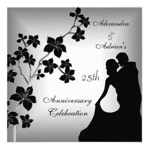 25th Anniversary Asian Black Silver Floral Couple Invites