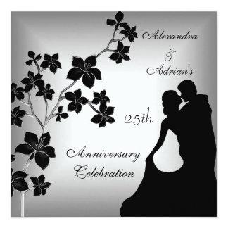 25th Anniversary Asian Black Silver Floral Couple Invitation