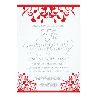25th Anniversary Botanical Red Invitation