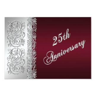 25th Anniversary Burgundy, Silver Scrolls Invite