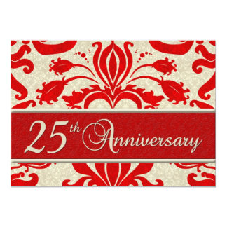 "25th Anniversary Business Announcement Red 5"" X 7"" Invitation Card"