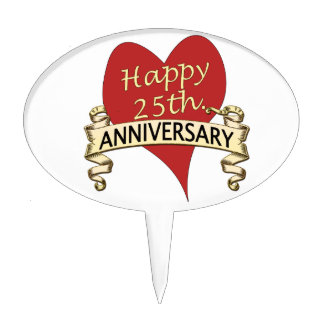 25th Anniversary Oval Cake Picks