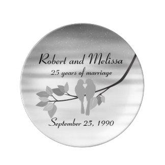 25th Anniversary Celebration Plate Porcelain Plates