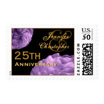 25th Anniversary Customized Stamp PURPLE Roses