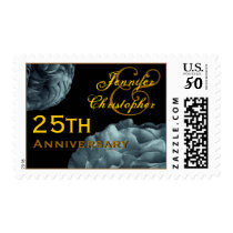 25th Anniversary Customized Stamp TEAL Roses