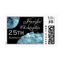 25th Anniversary Customized Stamp TURQUOISE Roses