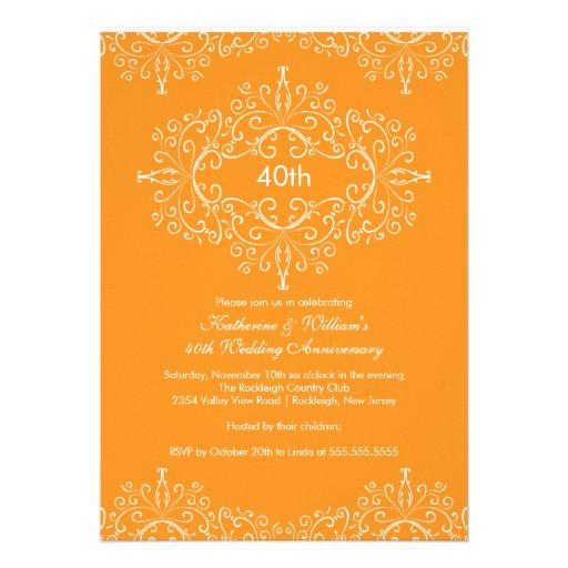 25th Anniversary Damask Invitation Orange White