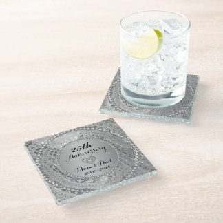 25th Anniversary. Diamonds And Silver Tones Glass Coaster