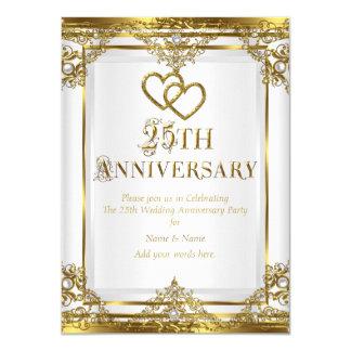 25th Anniversary Elegant Gold White Pearl 2 Card
