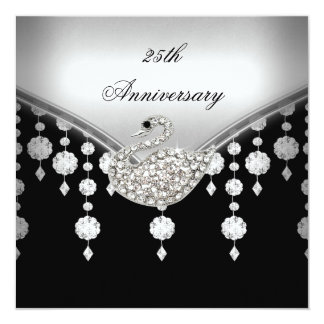 25th Anniversary Elegant Silver Black White Swan Card