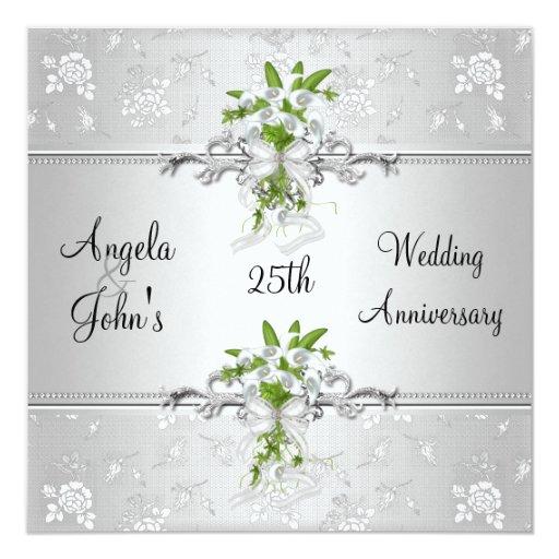 25th Wedding Anniversary Gift Experiences : 25th Anniversary Elegant Silver White Floral Card Zazzle