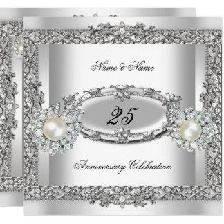 25th Anniversary Elegant White Silver Pearl Lace 2 Invitation