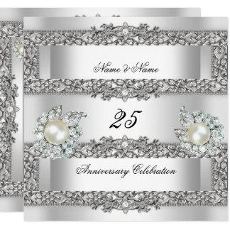 25th Anniversary Elegant White Silver Pearl Lace Invitation