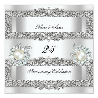 25th Anniversary Elegant White Silver Pearl Lace Personalized Invitation