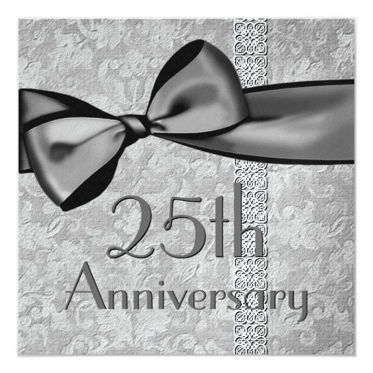 25th  Anniversary Faux Satin Bow Metallic Paper Card