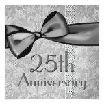 """25th  Anniversary Faux Satin Bow Metallic Paper 5.25"""" Square Invitation Card"""