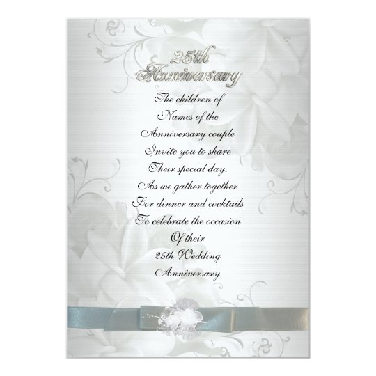 25th Wedding Anniversary Invitation Cards For Parents: 25th Anniversary For Parents Invitation