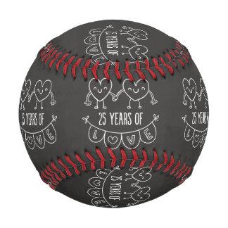 25th Anniversary Gift Chalk Hearts Baseball