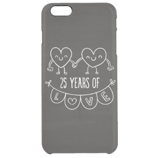 25th Anniversary Gift Chalk Hearts Clear iPhone 6 Plus Case