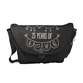 25th Anniversary Gift Chalk Hearts Courier Bag