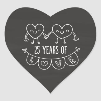 25th Anniversary Gift Chalk Hearts Heart Sticker