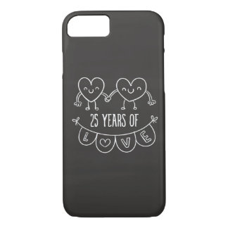 25th Anniversary Gift Chalk Hearts iPhone 8/7 Case