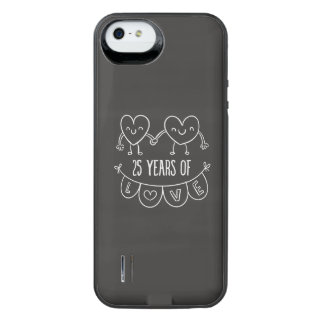 25th Anniversary Gift Chalk Hearts iPhone SE/5/5s Battery Case