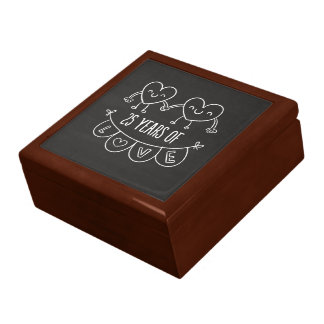 25th Anniversary Gift Chalk Hearts Jewelry Box