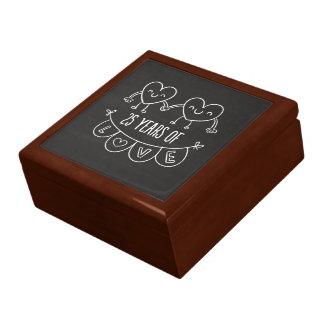25th Anniversary Gift Chalk Hearts Jewelry Box