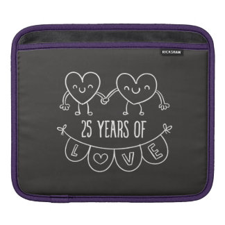 25th Anniversary Gift Chalk Hearts Sleeve For iPads