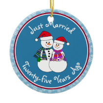 25th Anniversary Gift Fun Snow Couple Christmas Ceramic Ornament