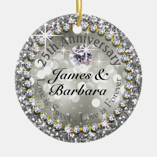 25th Anniversary Glitzy Diamond Bling Double Sided Ceramic Round Christmas Or