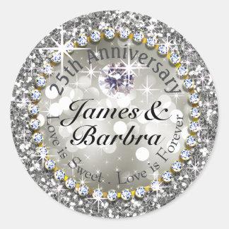 25th Anniversary Glitzy Diamond Bling   silver Classic Round Sticker
