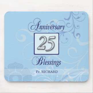 25th Anniversary in Blue and Silver Mouse Pad