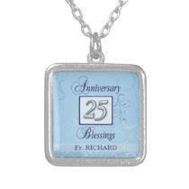 25th Anniversary in Blue and Silver Silver Plated Necklace
